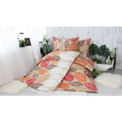 XPOSE® Bavlněné povlečení na 2 postele Valérie oranžová, 140x200/70x90cm