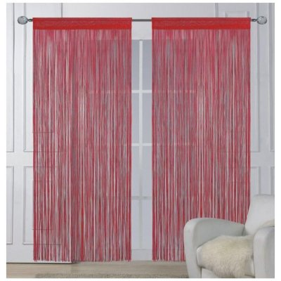 M&K Provázková záclona červená, 150 x 160 cm, 2 ks